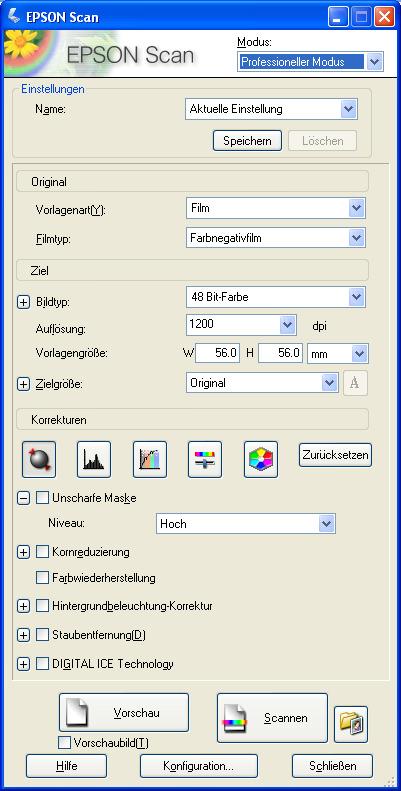 """Analog, Fotografie, Negativ, scannen /></a></p> <p>Der Screenshot zeigt die Bedienoberfläche von EpsonScan. Hier werden alle nötigen Einstellungen getroffen, das Vorschaubild erstellt und die Bilder ausgewählt. In der <em>Vorlagenart</em> wählt man Film, beim <em>Filmtyp</em> den aktuell eingelegten Film. Zur Auswahl stehen noch Farbpositivfilm und Schwarzweissnegativfilm.</p> <p>Bei <em>Bildtyp</em> wird die Farbtiefe eingestellt, unmittelbar darunter die <em>Auflösung</em> in dpi (dots per inch = Pixel pro Zoll). Im unteren Bereich befinden sind noch weitere Optionen. Hier kann die <em>Unscharfe Maske</em> eingestellt werden. Bei der <em>Kornreduktion</em> werden eventuell störende, grobe Körner aus empfindlichen Schwarzweissfilmen reduziert.</p> <p>Die zwei folgenden Einstellungen führen zu unvorhersehbaren Ergebnissen und sind eher unwichtig. Die <em>Staubentfernung</em> stempelt automatisch kleine Staubteilchen weg, ähnlich die <em>DIGITAL ICE TECHNOLOGY</em>. Die ICE-Technologie macht allerdings beim Scannen von Schwarzweissfilmen Probleme, weshalb man diese Einstellung vermeiden sollte.</p> <p>Generell lässt sich am besten mit deaktivierten Funktionen scannen. Viele sind der Bildqualität abträglich (Staubentfernung, zu starke USM, Kornreduktion) oder schwer nachvollziehbar (Farbwiederherstellung). Einzelne Staubkörner entfernen oder Scharfzeichnen gelingt besser in Photoshop, wo man die Parameter besser unter Kontrolle hat. Hier lohnt sich auf jeden Fall die Einarbeitung in die Scharfzeichnungsfilter, die Rauschreduktion und das Stempelwerkzeug.</p> <p><strong>Die Auflösung</strong></p> <p>Als ersten Parameter wählt man die Auflösung, in der die Vorlage gescannt werden soll. Die Angabe wird in DPI gewählt, welches frei """"Pixel pro Zoll"""" bedeutet. Zum Verständnis: Bei einem Stück Film der Breite 1 Zoll wird  bei 1200dpi ein genau 1200 Pixel breites Bild entstehen.</p> <p>Viele Scanner haben astronomische DPI-Werte, die man angeblich noch Scannen kann. Vieles da"""