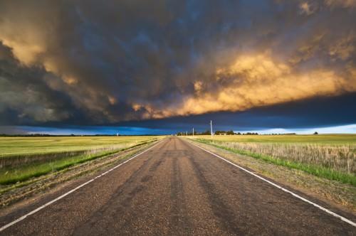 Gewitter im Sonnenuntergang Kansas