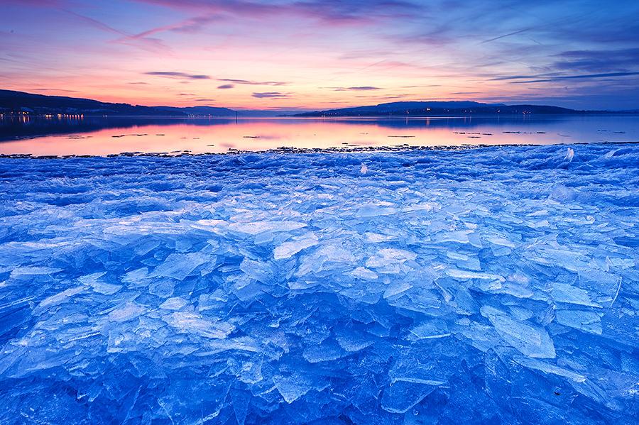 Eisplatten auf der Insel Reichenau