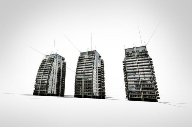 freigestellte Hochhäuser