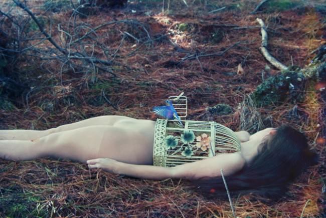 Eine Frauliegt auf einem Waldboden. Ihr Torso ist ein Vogelkäfig aus dem ein blauer Vogel flüchtet.