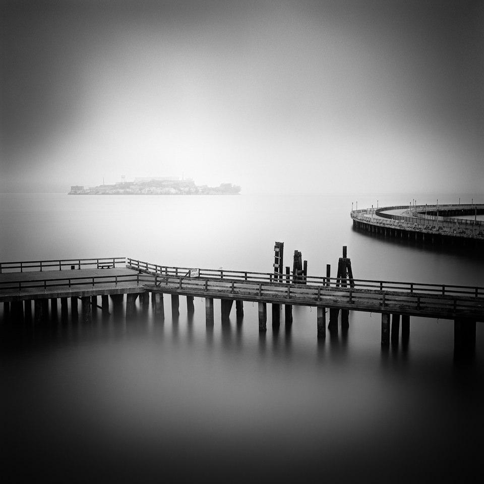 Alcatraz, San Francisco, California, Black and White, Fog, Foggy, Nebel, Kalifornien, USA, Langzeitbelichtungen, Langzeitbelichtung