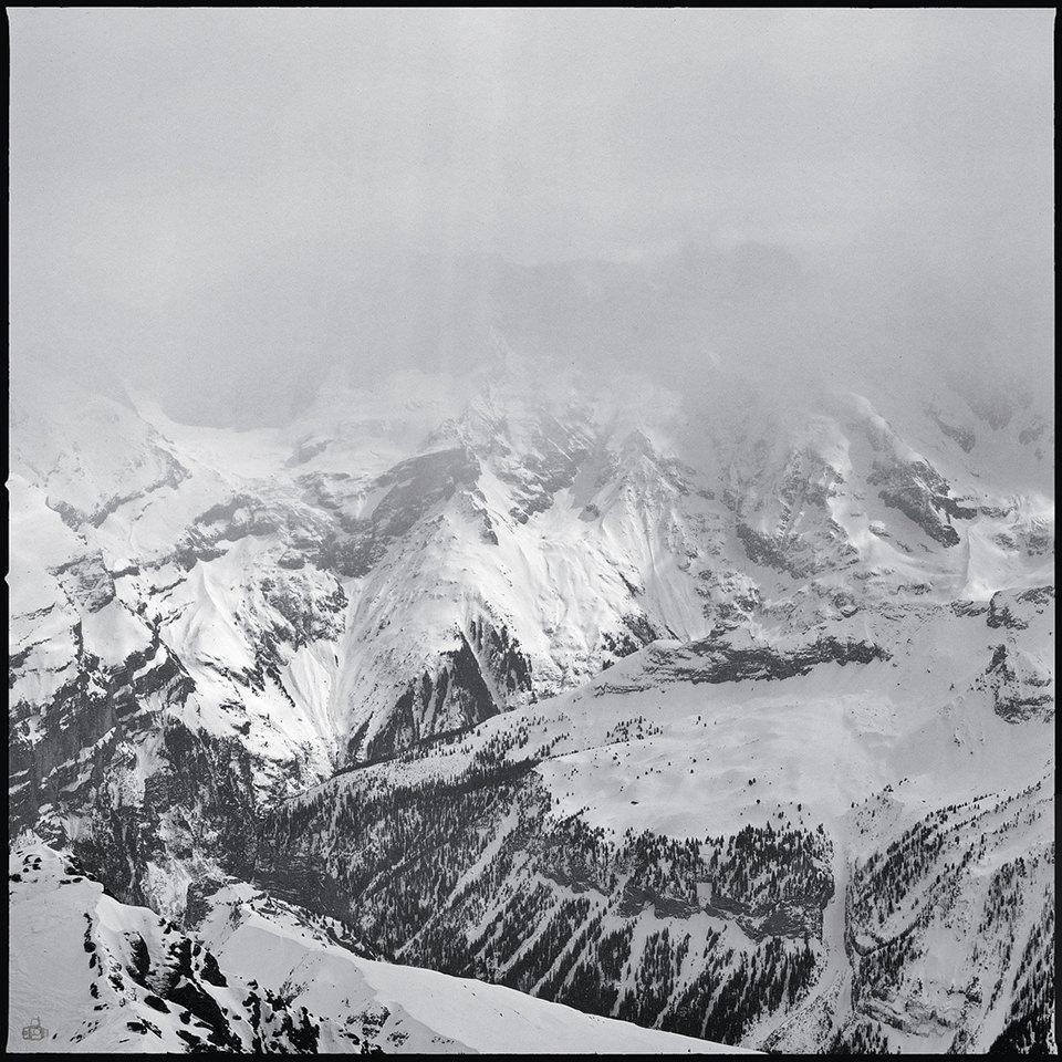 alpen, analog, schwarzweiß, nebel, schnee, ausblick