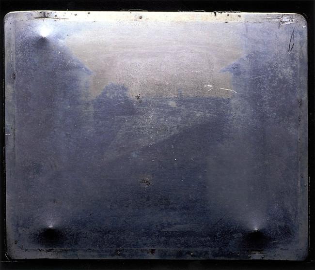 Zinnplatte mit erster dauerhafter Fotografie der Welt
