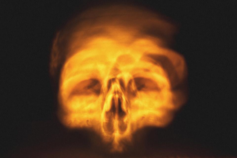 Kerzenschein, Knochen, Schädel, rot, unheimlich, scary