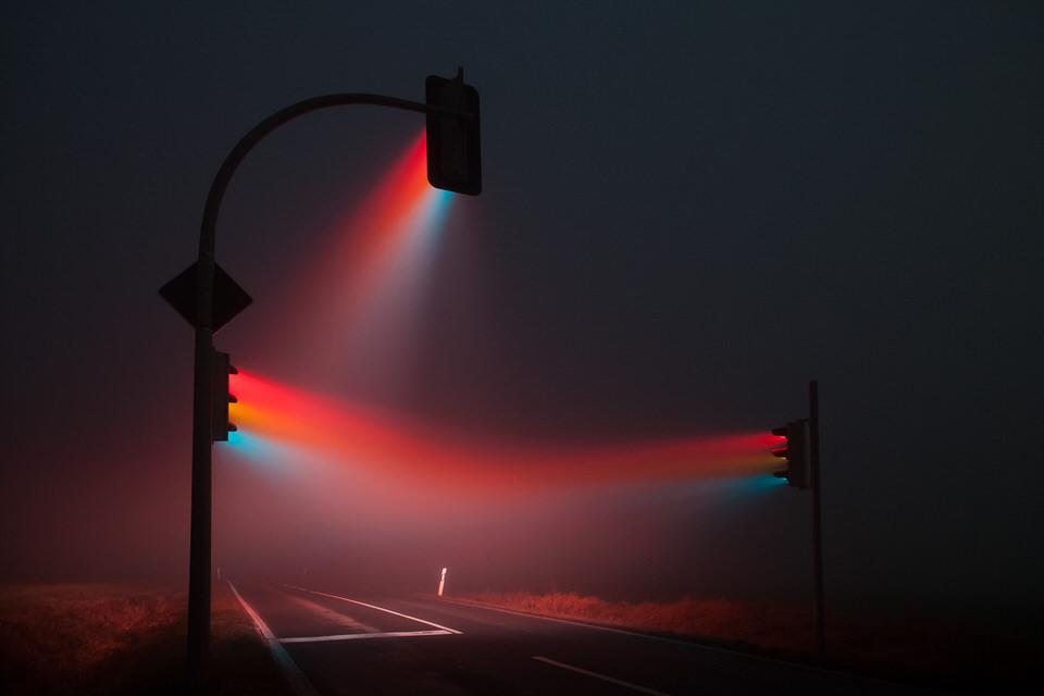 Ampeln,, Lichter, Nebel