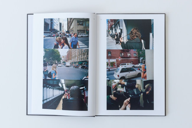 Eine aufgeschlagene Doppelseite des Buches Twirl/Run von Jeff Mermelstein.