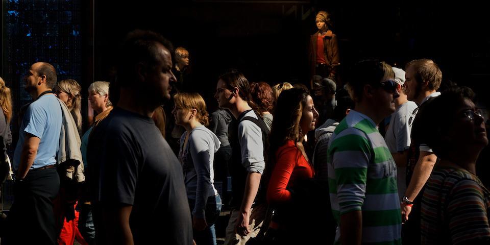 Blick in eine Menschenmenge.