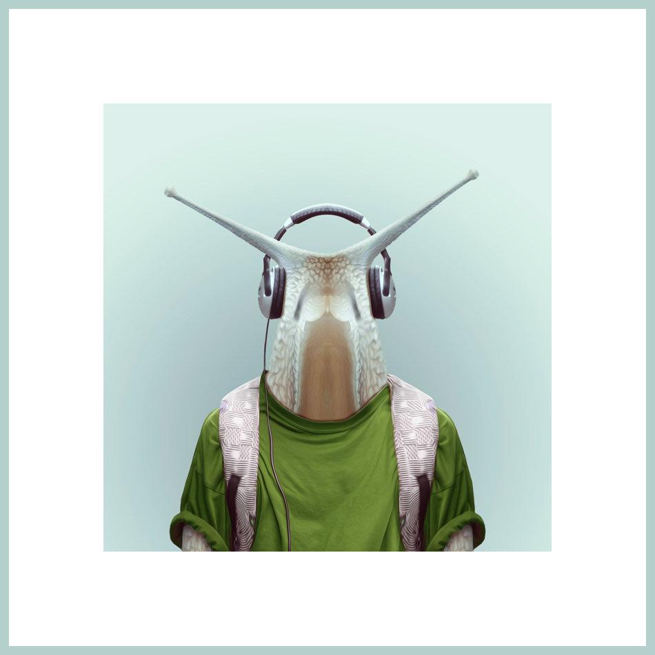 Eine Schnecke mit Kopfhörern