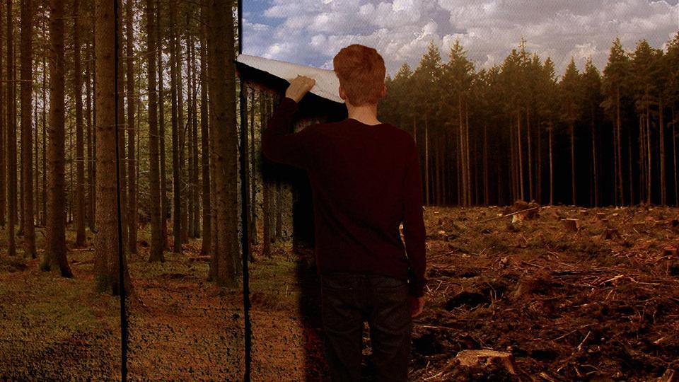 Ein Mann steht mit dem Rücken zur Kamera und zieht Tapetenbahnen ab, die den Wald zeigen. Darunter kommt abgeholzter Wald zum Vorschein.