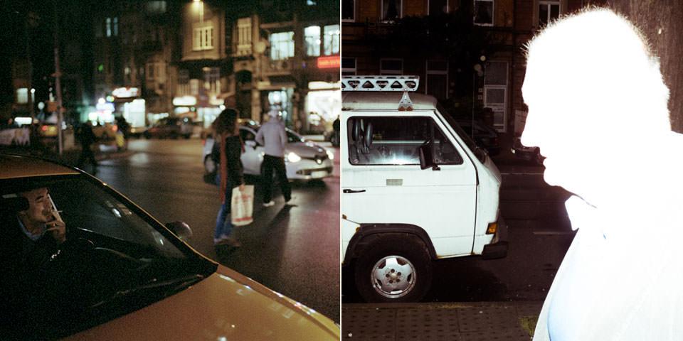 Zwei Bilder nebeneinander: links ein im Auto rauchender, auf Kunden wartender Taxifahrer, rechts die aufgeblitzte Silhouette eines älteren Herrn.
