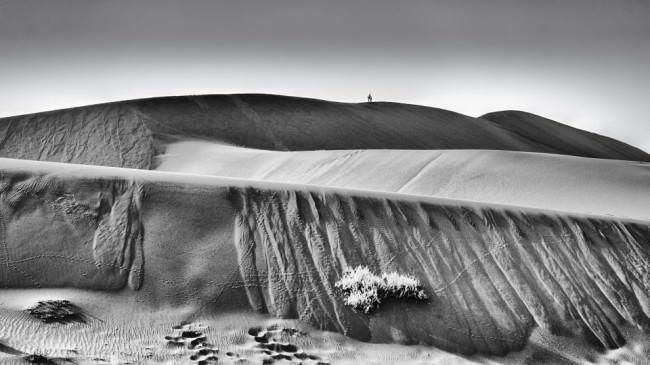 Dünenlandschaft mit einem Reiter am Horizont.