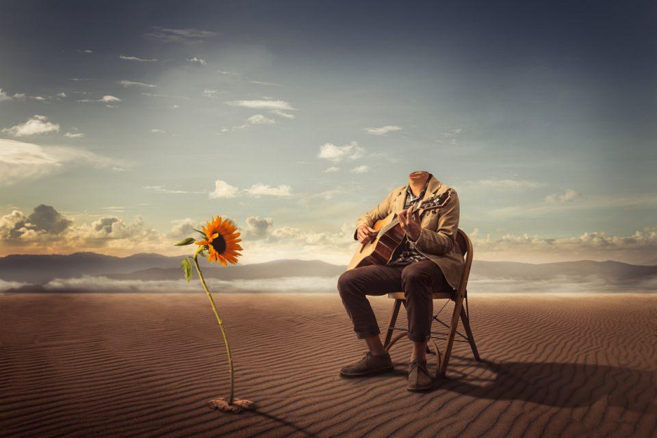Ein kopfloser Mann sitzt auf einem Stuhl in der Wüste und spielt Gitarre, vor ihm wächst eine Sonnenblume.
