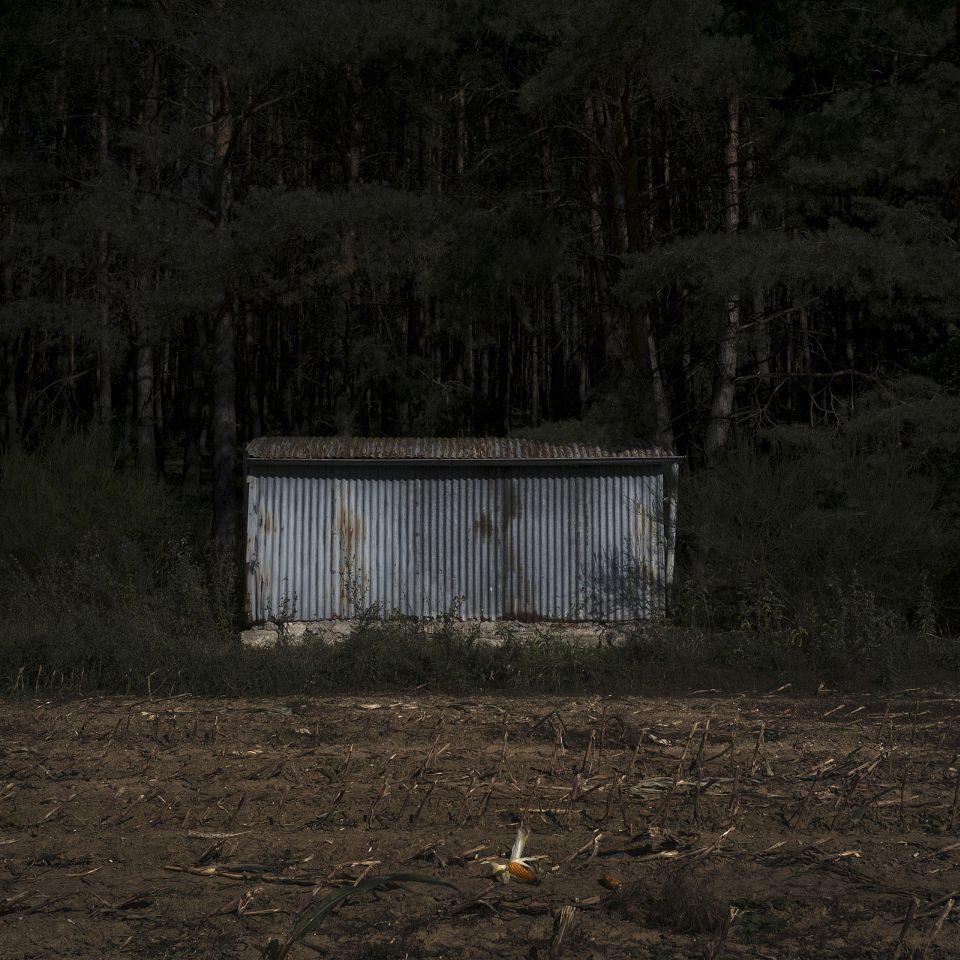 Eine Blechhütte, die am Rand zwischen Wald und Feld steht.