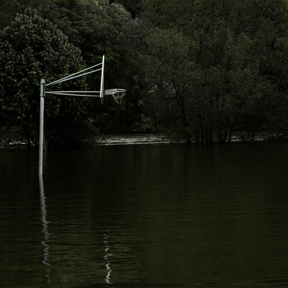 Ein Basketballkorb, der vor einem Wald im Wasser steht.