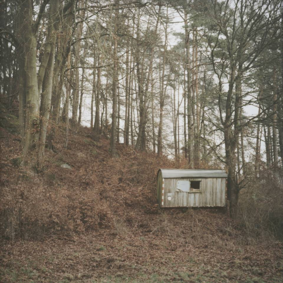 Ein Bauwagen, der an einem bewaldeten Hang steht.