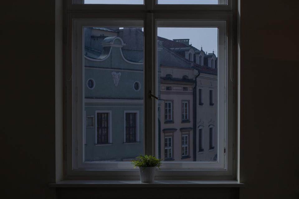 Blick durch ein Fenster auf eine Häuserfront.