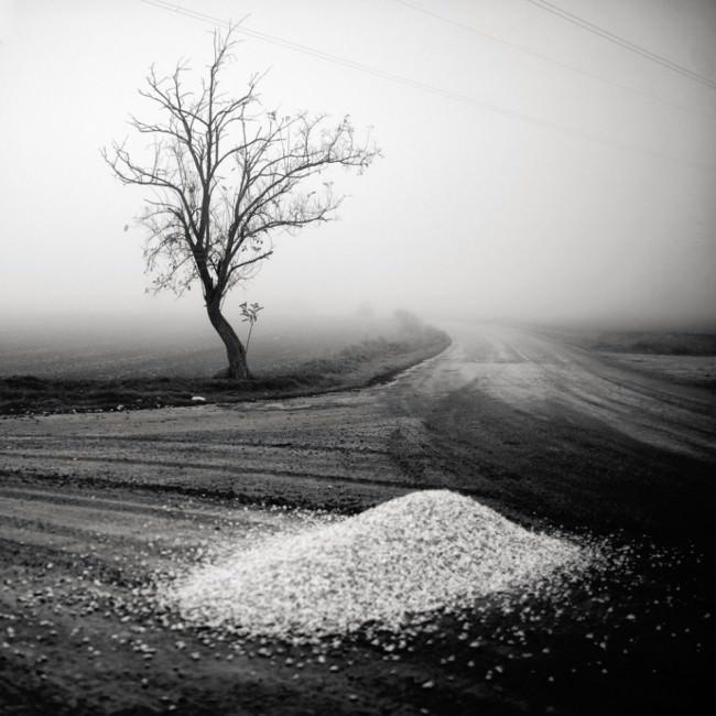 Ein Haufen heller Steine auf einer ländlichen Kreuzung, im Hintergrund steht ein kahler Baum vor Nebel.