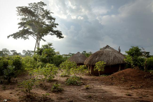 Zwei Hütten in einer afrikanischen Landschaft.
