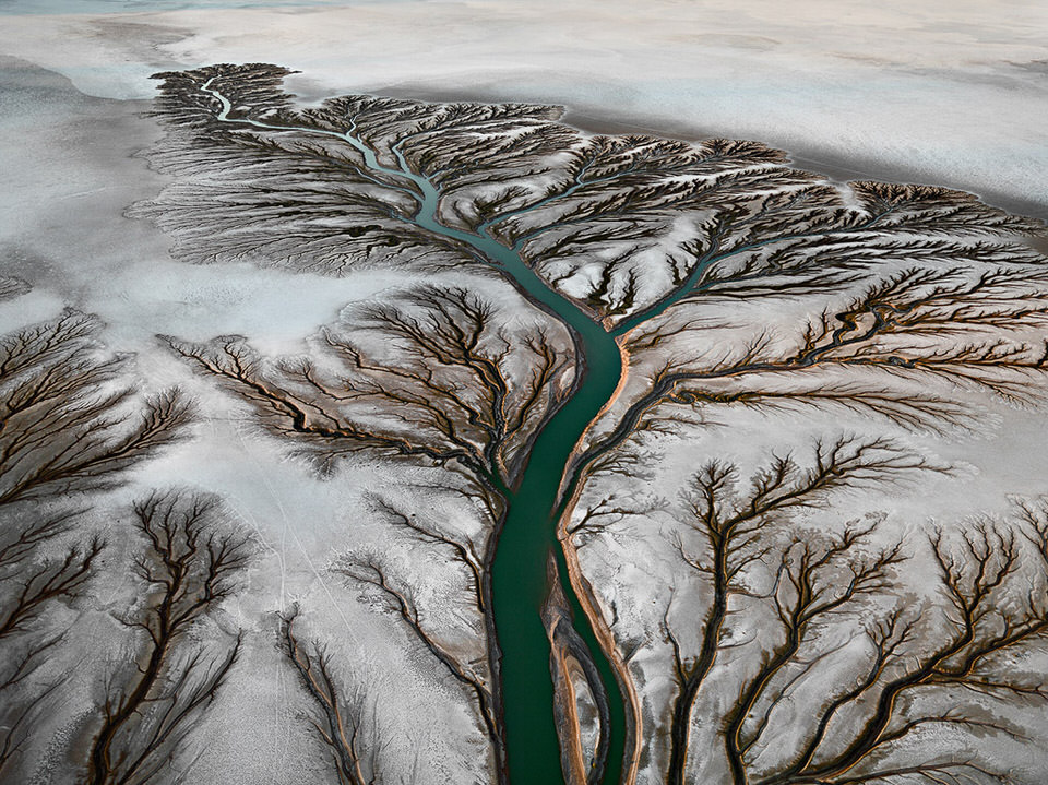 Blick auf einen langen Fluss, der von oben aussieht, wie ein Baum.