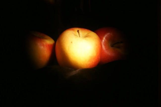Zwei Äpfel im Licht.