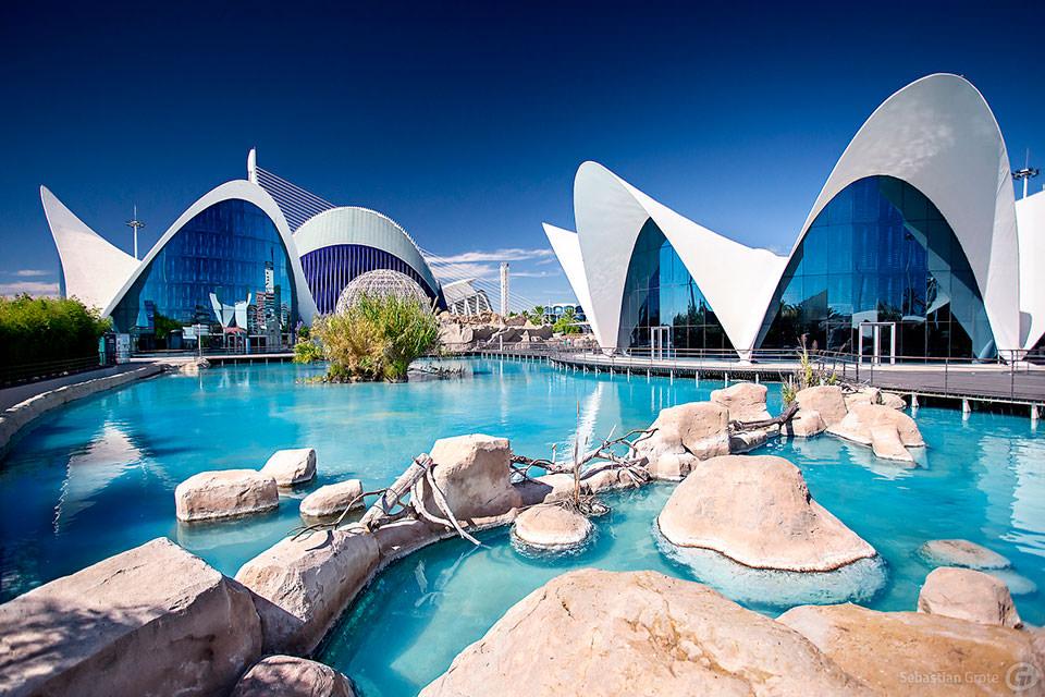 Pavillons in filigraner Betonschalenbauweise an einem künstlichen Teich in Valencia.