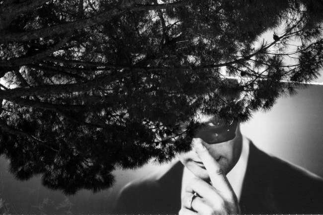 Ein Mann mit Sonnenbrille auf einem Werbeplakat, davor Äste eines Nadelbaums.
