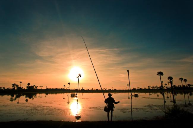 Ein Angler im Sonnenuntergang