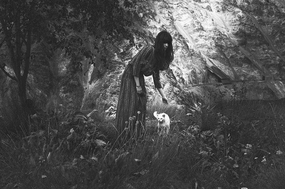 Eine Frau beugt sich zu einer weißen Katze hinunter.
