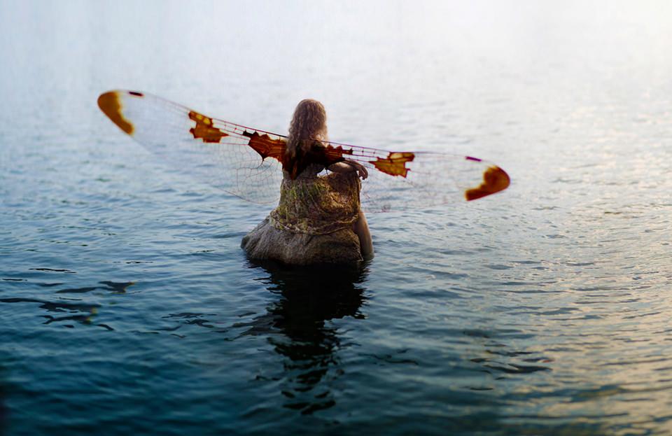 Mädchen mit Libellenflügeln auf Stein im Wasser