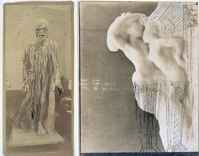 Zwei alte Skizzen von Rodin auf denen man das Foto einer Skulptur sowie feine Korrekturstriche Rodins sehen kann.