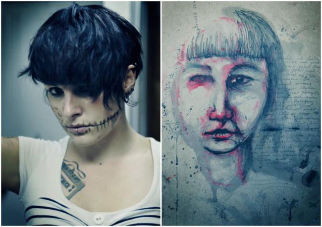 Zwei Bilder, links das Foto einer Frau mit aufgezeichnetem verarzteten Mund und rechts eine Zeichnung eines Gesichts mit roten Flecken.
