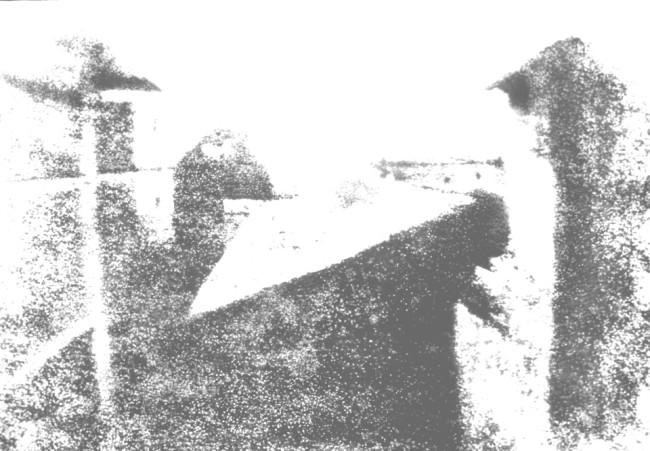 Kopie einer Kopie einer Kopie einer Kopie des Originals (Blick aus dem Arbeitszimmer von Le Gras, Joseph Nicéphore Niépce, 1826)