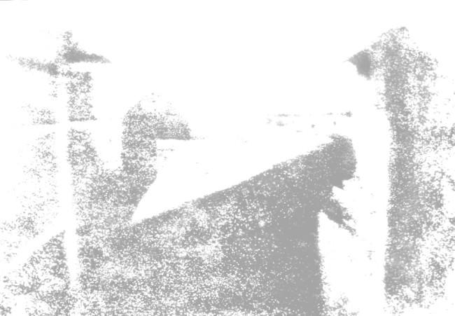 Kopie einer Kopie einer Kopie einer Kopie einer Kopie des Originals (Blick aus dem Arbeitszimmer von Le Gras, Joseph Nicéphore Niépce, 1826)