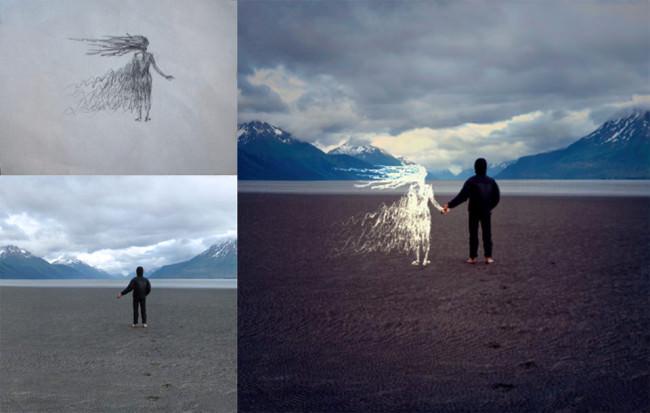 Man sieht die Zusammensetzung von Zeichnung und Fotografie. Ein Junge am Strand dreht uns den Rücken zu und hält die Hand eines Mädchens, das aber nur gezeichnet ist.
