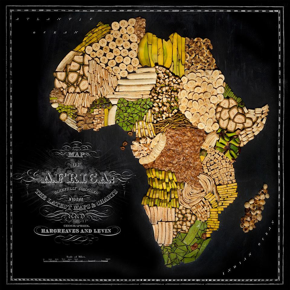 Karte von Afrika aus Lebensmitteln