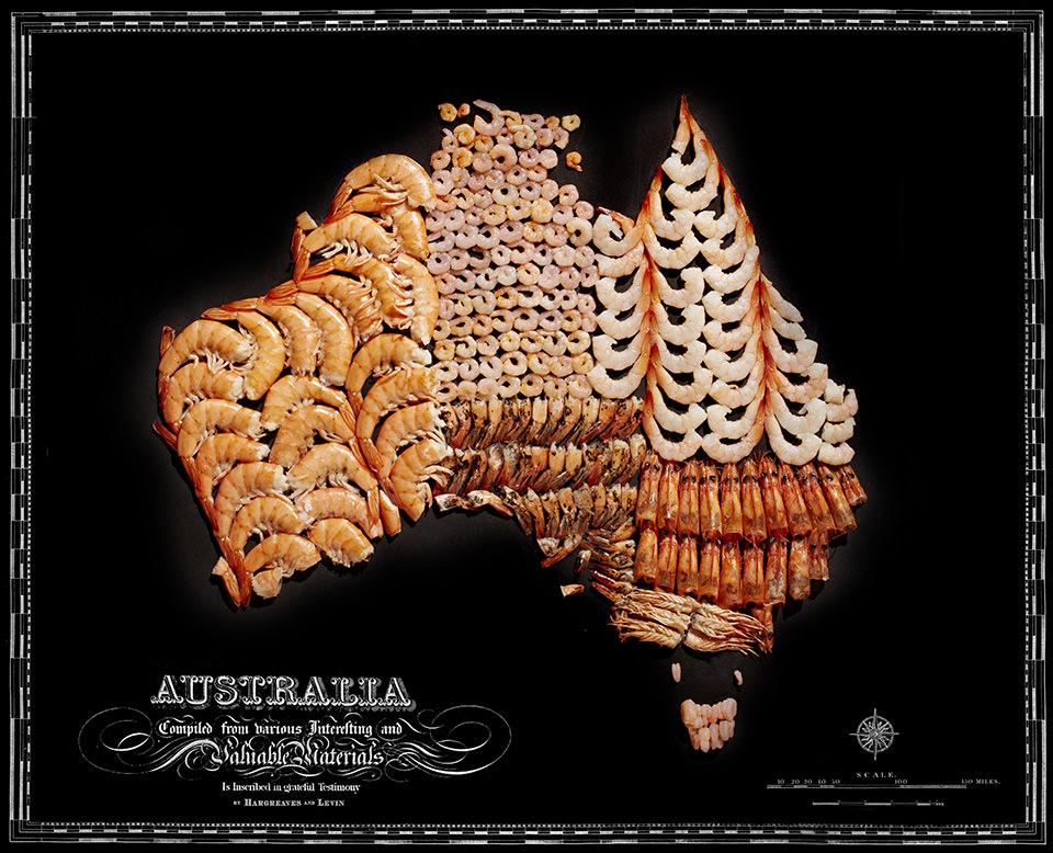 Karte von Australien aus Lebensmitteln