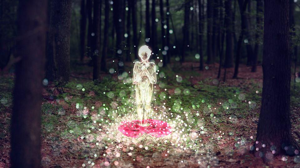 Ein rotes Kleid liegt am Waldboden. Darüber steht eine Frau aus Licht..
