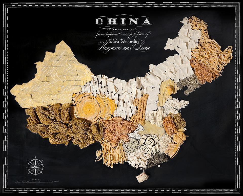 Karte von China aus Lebensmitteln