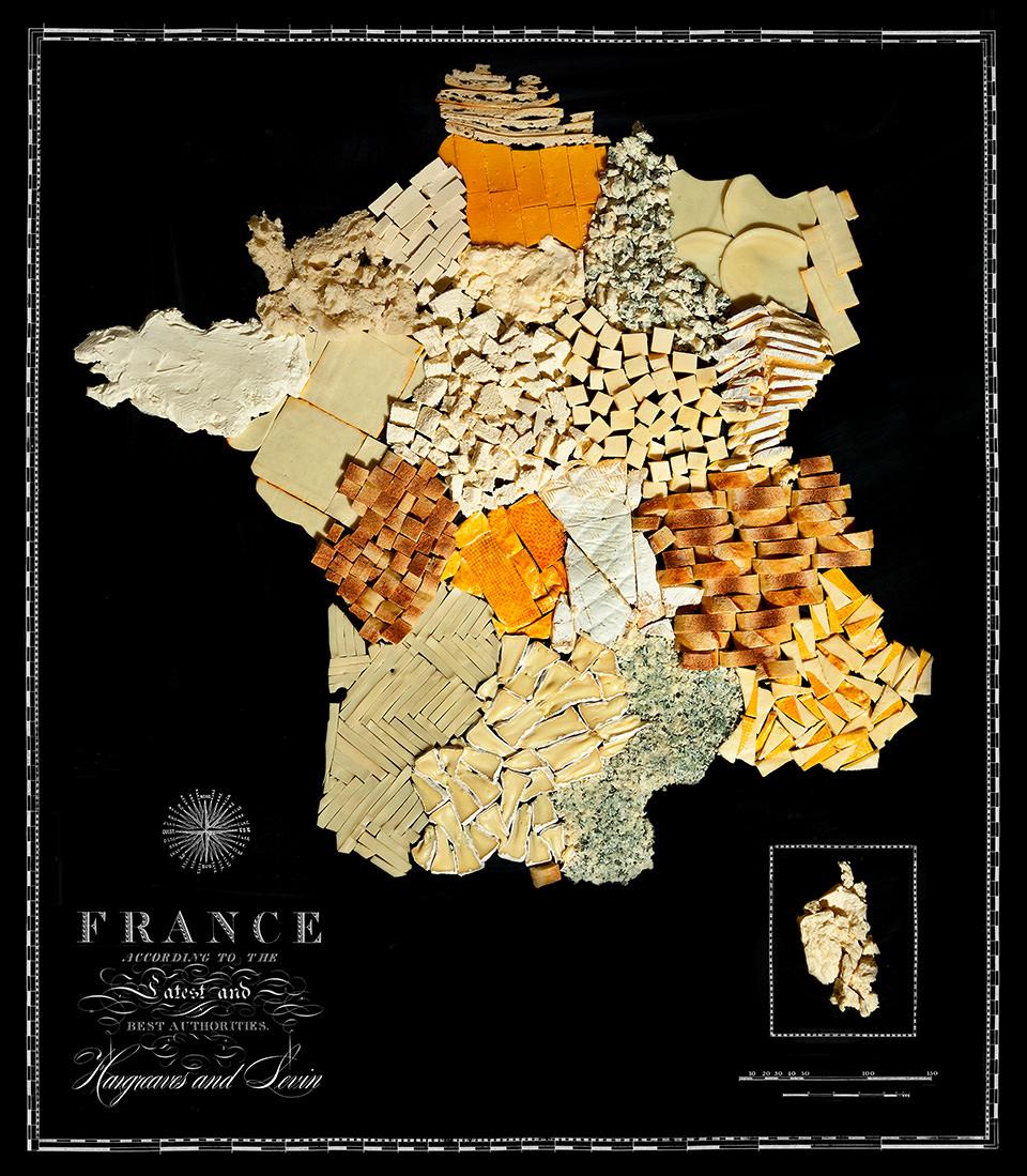 Karte von Frankreich aus Lebensmitteln
