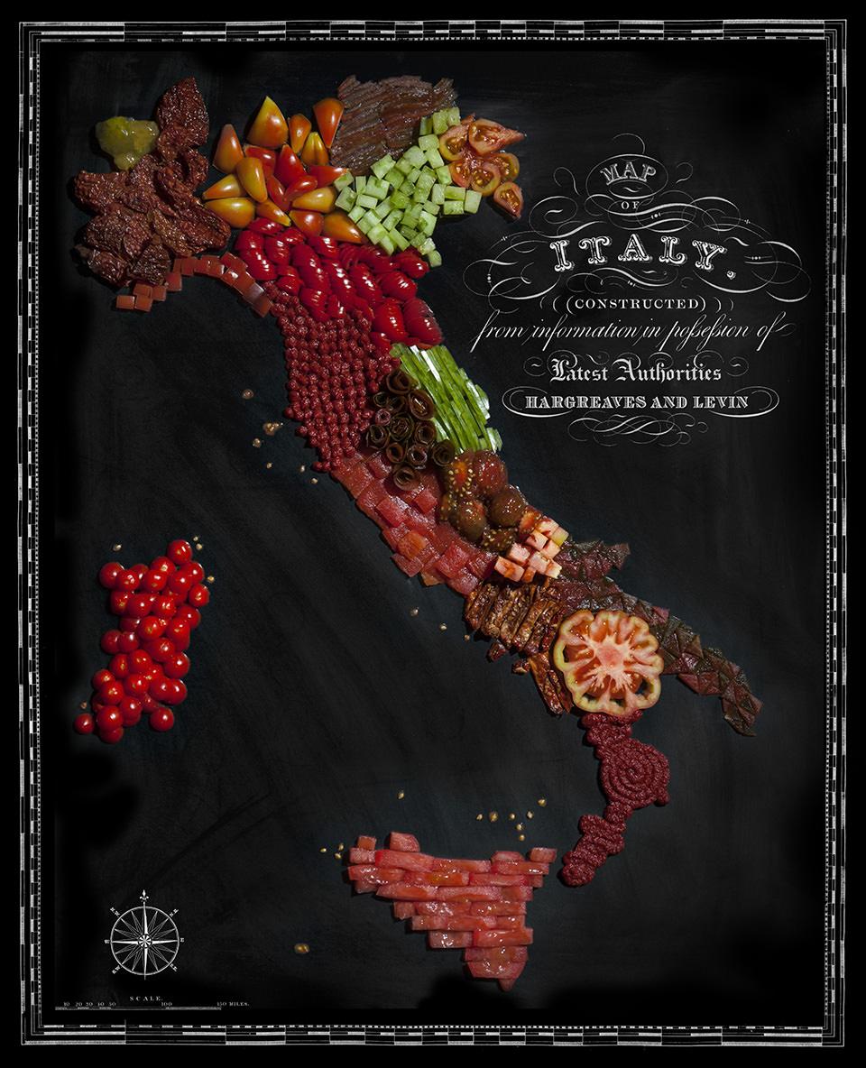 Karte von Italien aus Lebensmitteln
