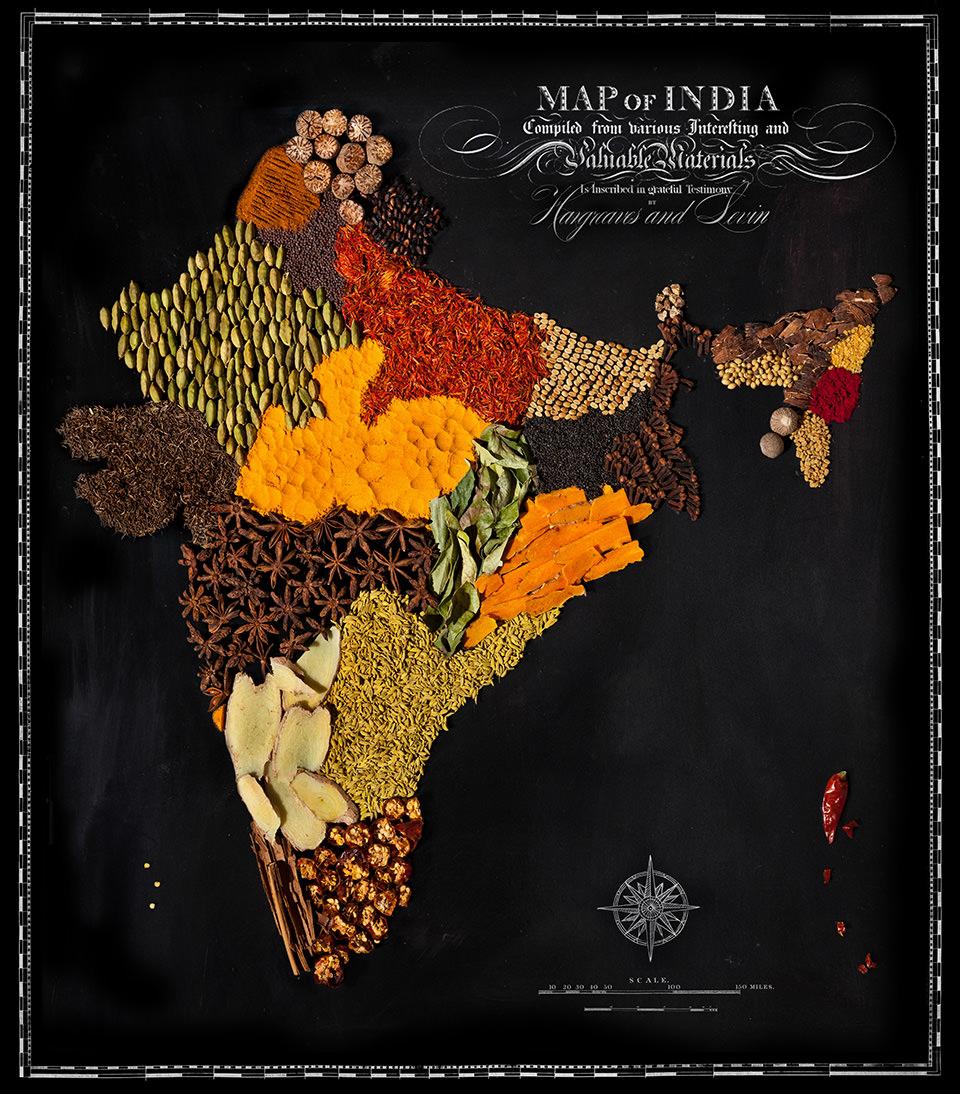 Karte von Indien aus Lebensmitteln