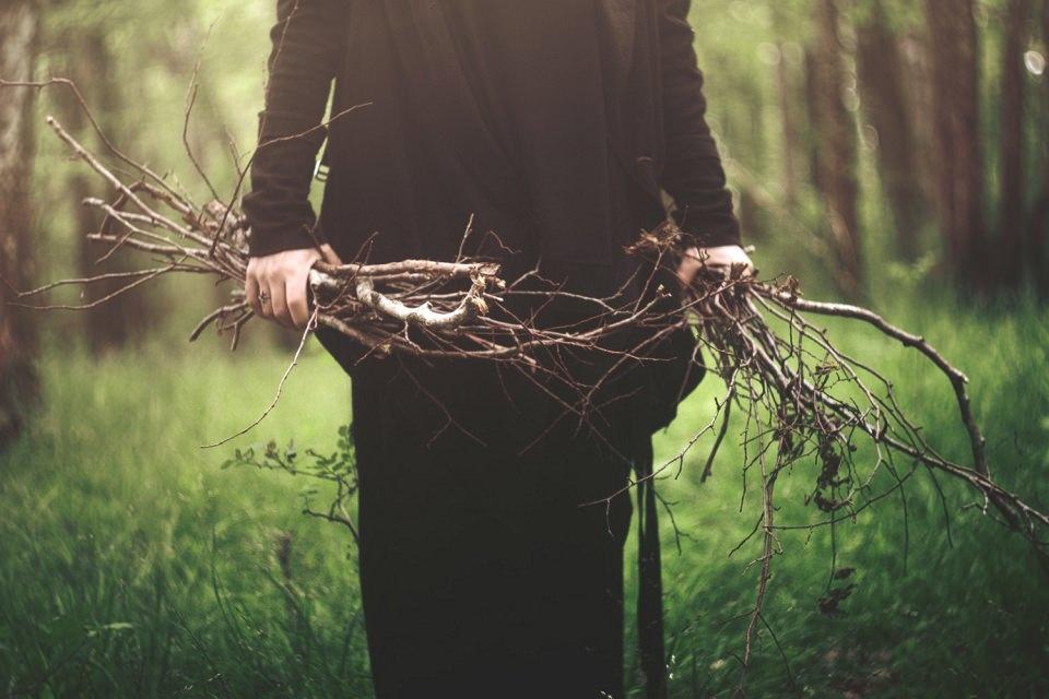 Eine Person steht in einem grünen Wald und hebt viel Geäst auf.
