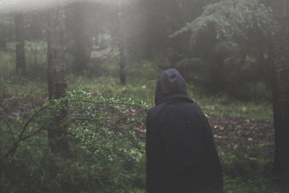 Ein Mensch mit Umhang und Kapuze in einem Wald.