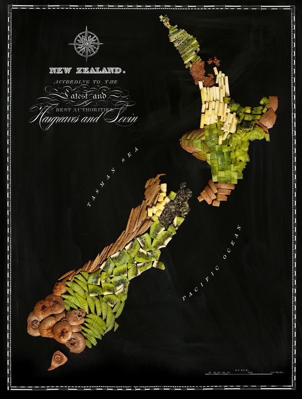 Karte von Neuseeland aus Lebensmitteln