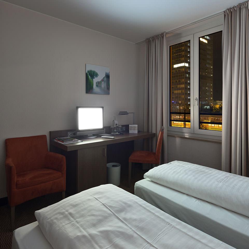 Innenperspektive eines Hotelzimmers.