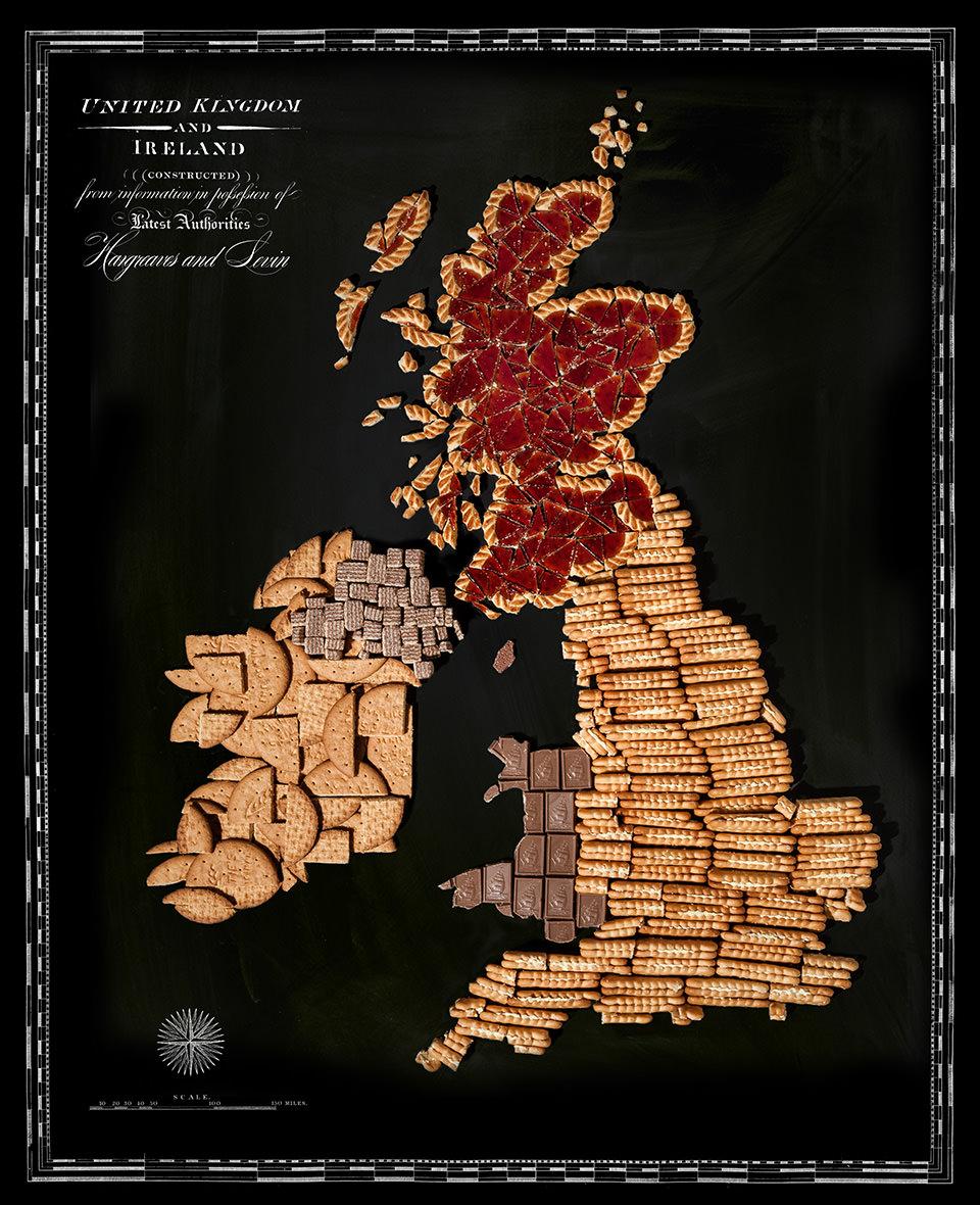 Karte von Großbritannien aus Lebensmitteln