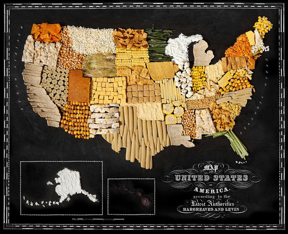 Karte der USA aus Lebensmitteln