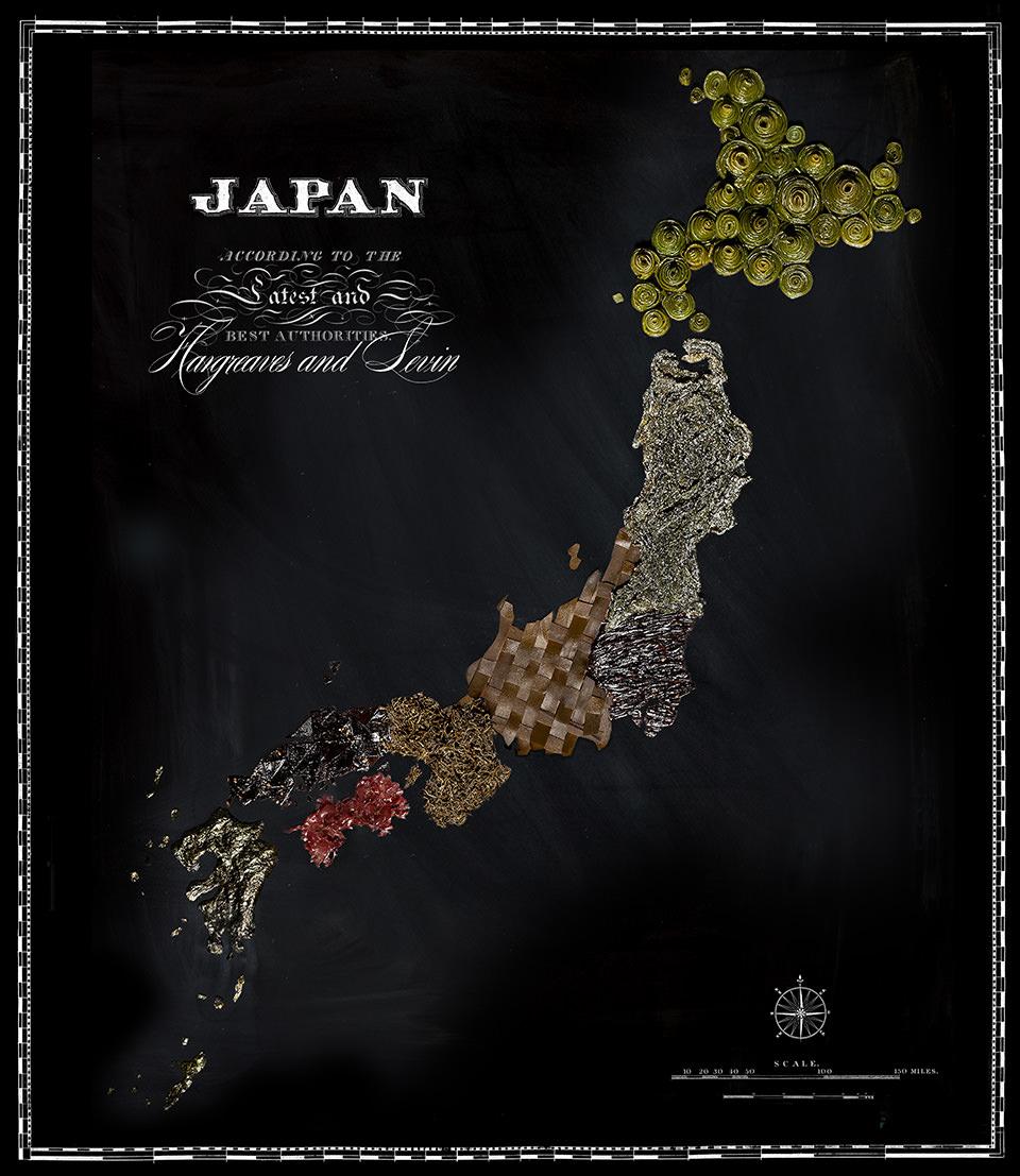 Karte von Japan aus Lebensmitteln