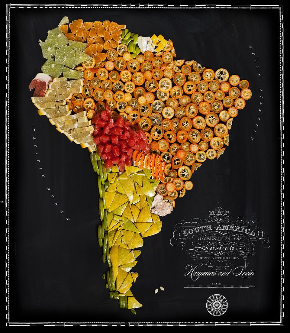 Karte von Südamerika aus Lebensmitteln